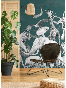Wallpanel Noe - Vert Sibérie - W.168 x H.185 cm - srtips B.C - WallDecor Semi satin