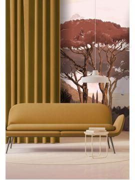 Wallpanel Paeonia - Jaune - W.156 x H.275 cm - strips A.B - WallDecor Semi satin