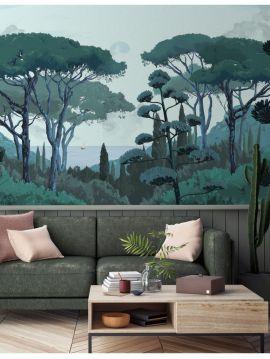 Fresque Toscane - Vert - L.156 x H.275 cm - Lés A.B - WallDecor Semi satiné