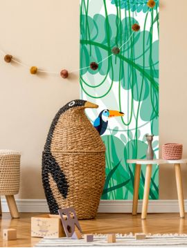 Toucan, vert - 1 strip E of W.88 x H.270cm - WallDecor semi-satin