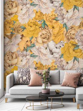 Fresque Paeonia - Jaune - L.156 x H.275 cm - Lés A.B - WallDecor Semi satiné