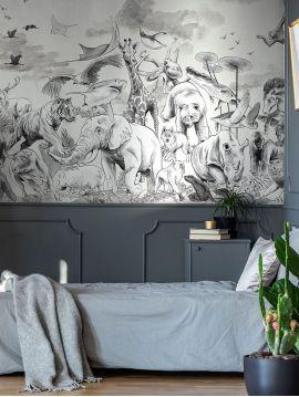 Wallpanel Noe - Dark Grey - W.468 x H.250 cm - strips A.B.C.D.E.A - Aquapaper Original Washable