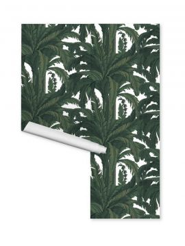Wallpaper Musa, blanc - W.352 x H.250 cm A-B-A-B - Aquapaper satin washable  - Second choice n°3