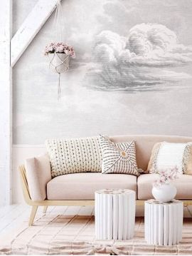 Wallpanel Cloud - Gris - W.264 x H.250 cm - strips A.B.C - Aquapaper satin pre-pasted