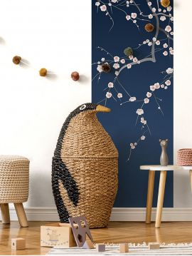 Wallpanel Sakura - Bleu Foncé - 1 strip A of W.88 x H.245 cm - Aquapaper satin washable