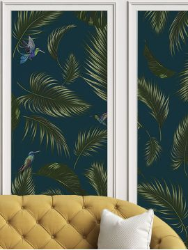 Wallpanel Jungle - Bleu - 1 strip A of W.89,4 x H.190 cm - Aquapaper mat non washable