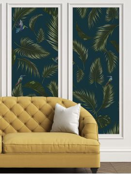Wallpanel Jungle - Bleu - 1 strip A of W.88 x H.240 cm - Aquapaper satin washable
