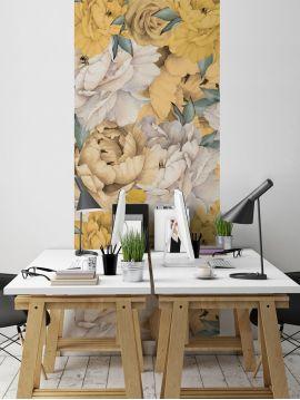 Fresque Paeonia - Jaune - 1 Lé A de L.78 x H.250 cm - WallDecor Semi satiné
