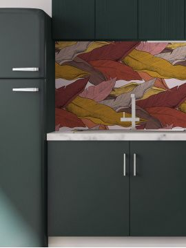 Horizontal wallpanel Leaf, rouge - L.78 x H.1500 cm - WallDecor semi-satin - Second choice n°6