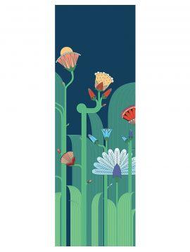 Fresque Jardin exotique, bleu - L.88 x H.260 cm - Aquapaper satiné lessivable