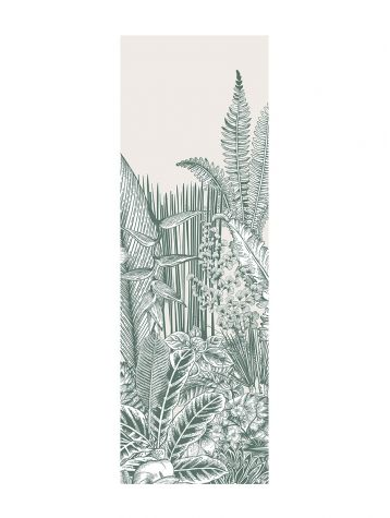 Wallpaper Botanic, vert - 1 strip A of W.88 x H.300 cm - Aquapaper satin washable