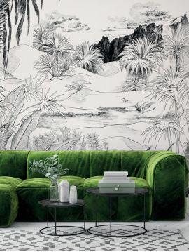Wallpaper Oasis, noir et blanc - L.178,8 x H.270 cm - Aquapaper satin washable - Strips H.I.