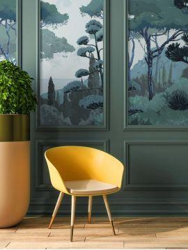 Fresque Toscane - Vert - L.156 x H.275 cm - Lés C.D - WallDecor Semi satiné