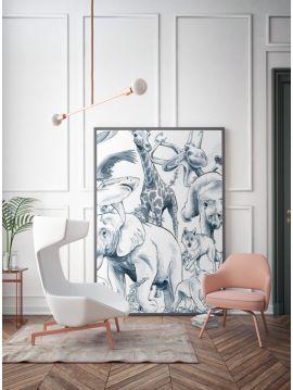 Noé - Monochrome Encre - 1 Lé de L.78 x H.250 cm - WallDecor Semi satiné
