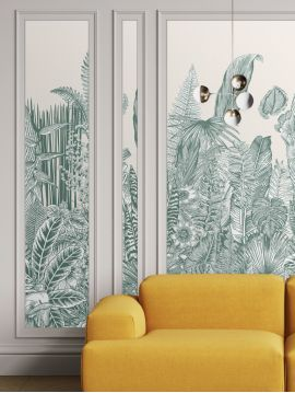 Wallpaper Botanic, vert - 1 strip A of W.88 x H.235 cm - Aquapaper satin washable