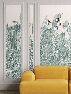 Wallpaper Botanic, vert - 1 strip A of W.88 x H.235 cm - Aquapaper satin washable