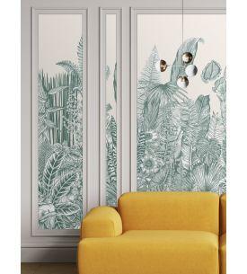 Wallpaper Botanic, vert - 1 strip A of W.88 x H.300 cm - Aquapaper satin washable