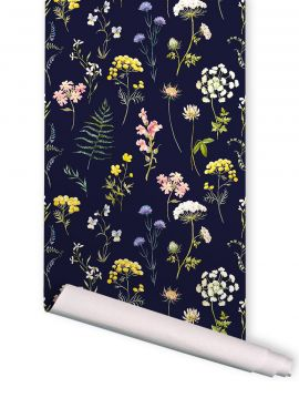 Herbier - bleu nuit - 1 strip of W. 52 x H. 300cm - WallDecor semi-mat