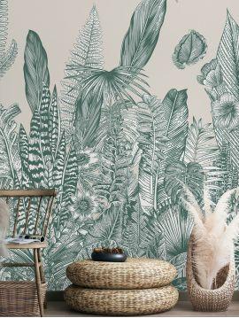 Wallpanel Botanic - Vert - W.312 x H.300 cm - strips A.B.C.A - Aquapaper original washable