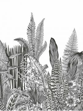 Fresque Botanic - Charbon - L.156 x H.137 cm- Lés A.B - WallDecor Semi satiné