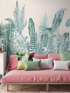 Wallpanel Botanic - Vert - W.234 x H.300 cm - strips A.B.C - Aquapaper original washable