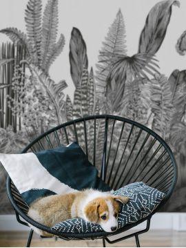 Wallpanel Botanic - Charbon - W.156 x H.137 cm - strips A.B - WallDecor Semi satin