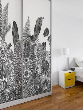 Wallpanel Botanic - Charbon - W.234 x H.250 cm - strips A.B.C - WallDecor Semi satin - Second choice n°0