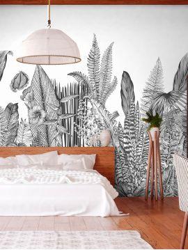 Wallpanel Botanic - Charbon - W.234 x H.300 cm - Strips A.B.C - WallDecor semi-satin