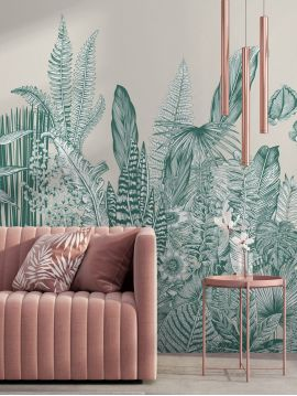 Wallpanel Botanic - Vert - W.234 x H.250 cm - Strips A.B.C - WallDecor semi-satin
