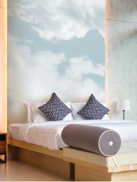 Wallpanel Cumulus - Bleu ciel - W.390 x H.250 cm - Strips A.B.C.A.B - WallDecor semi-mat