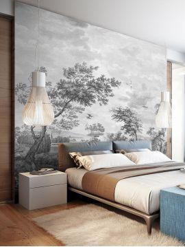 Fresque Fontainebleau - Grisaille - L.312 x H.300 cm - Lés D.E.A.B - WallDecor semi-satiné