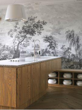 Fresque Fontainebleau - Grisaille - L.312 x H.250 cm - Lés A.B.C.D - WallDecor semi-satiné