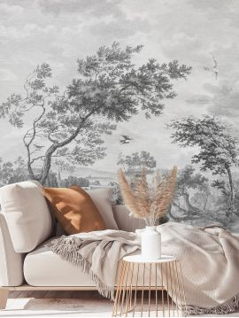 Wallpanel Fontainebleau - Grisaille - W.312 x H.250 cm - Strips A.B.C.D - WallDecor semi-satin
