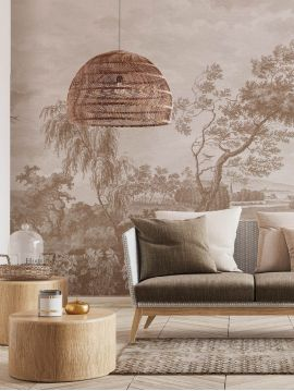 Wallpanel Fontainebleau - Sépia - W.312 x H.300 cm - Strips A.B.C.D - WallDecor semi-satin