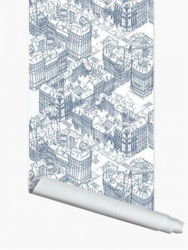Paris, Bleu - 4 lés de 3m x 44,7cm - Aquapaper satiné