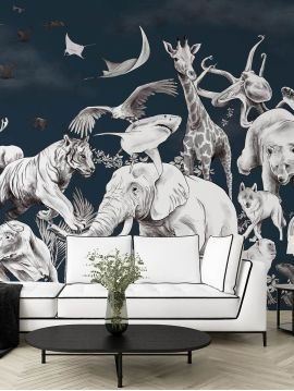 Fresque Lewis - Blanc platine - L.156 x H.250 cm - Lés A.B - WallDecor semi-mat