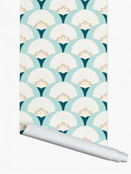 Palm, beige/bleu - roll 3ml x 52cm - WallDecor semi-matt