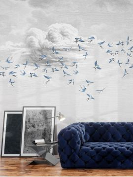 Fresque Swallow Cloud - Bleu fumée - L.234 x H.300 cm - Lés A.B.C - WallDecor semi-satiné