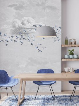 Wallpanel Swallow Cloud - Bleu fumée - W.234 x H.300 cm - Strips A.B.C - WallDecor semi-satin