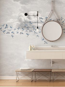 Wallpanel Swallow Cloud - Bleu fumée - W.234 x H.250 cm - Strips A.B.C - WallDecor semi-satin