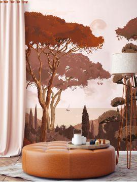 Wallpanel Toscane Monochrome - Terracotta - W.234 x H.250 cm - Strips B.C.D - WallDecor semi-satin