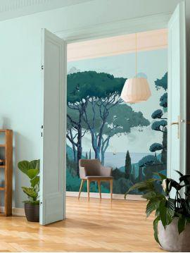 Fresque Toscane - Vert - L.156 x H.250 cm - Lés A.B - WallDecor semi-mat