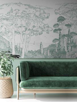 Fresque Toscane Line - Vert - L.312 x H.250 cm - Lés A.B.C.D - WallDecor semi-satiné