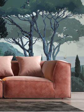 Wallpanel Toscane, Vert - 4 stripes FABC of W.78 x H.250cm - WallDecor semi-satin - Second choice 5