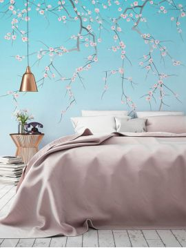 Wallpanel Sakura - Bleu ciel - W.234 x H.300 cm - Strips A.B.C - WallDecor semi-satin - Second choice