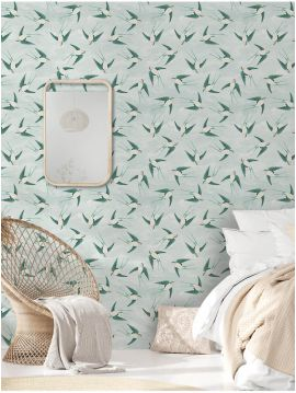 Swallow - Vert - W.52 x H.300 cm - WallDecor semi-mat