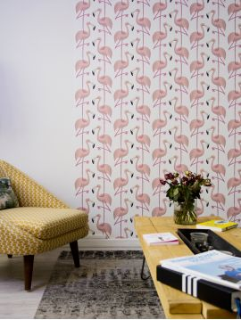 Flamingo - Pink / Blanc - L.104 x H.300 cm - WallDecor semi-mat