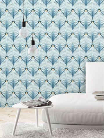 Paon - Bleu - W.52 x H.300 cm - WallDecor semi-mat