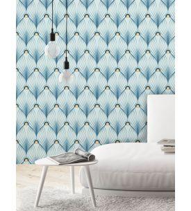 Paon, bleu - 44,7 x 300 cm - Aquapaper mat pre-pasted 1ex