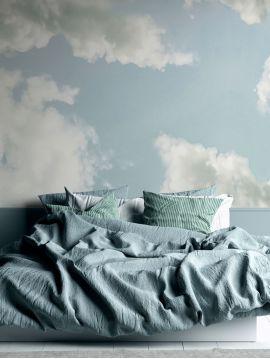 Fresque Cumulus - Bleu ciel - 5 lés A-B-C-D-E de L.78 x H.270 cm - Aquapaper pré-encollé